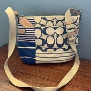 Coach blue/white crossbody bag